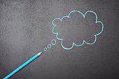 """""""Thinks"""" bubble drawn on chalkboard in blue"""