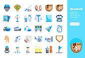 Modern flat design icons set of Baseball. 48x48 Pixel Perfect icon. High-quality Flat icon design.