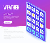 Weather web page template. Buttons on tablet with flat isometric icons. Rain, overcast, partly cloudy, fog, snow, thunderstorm, hail, sleet, rainbow. Vector illustration.