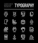 Typography, polygraphy thin line icons set. Printing, scanning, flexography, offset, roll paper, color palette, lamination, heat transfer printing, embossing. Vector illustration.