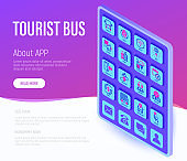 Tourist bus web page template. Buttons on tablet with thin line isometric icons. Free wi-fi, schedule, emergency exit, tourist route, departure point, socket, audio guide, luggage, refund, double decker. Vector illustration.