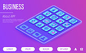 Business web page template. Buttons on tablet with thin line isometric icons. Success, strategy, finance planning, innovation, brainstorm, technical support, analytics, presentation, contract, target. Vector illustration.
