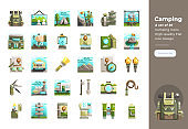 Modern flat design icons set of Camping. 48x48 Pixel Perfect icon. High-quality Flat icon design.