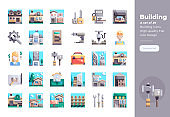 Modern flat design icons set of Building and Construction. 48x48 Pixel Perfect icon. High-quality Flat icon design.