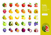 Modern flat design icons set of Fruits . 48x48 Pixel Perfect icon. High-quality Flat icon design.