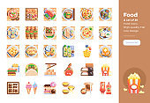Modern flat design icons set of International Food . 48x48 Pixel Perfect icon. High-quality Flat icon design.