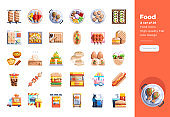 Modern flat design icons set of Street Food . 48x48 Pixel Perfect icon. High-quality Flat icon design.