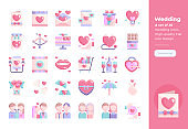 Modern flat design icons set of Love and Wedding. 48x48 Pixel Perfect icon. High-quality Flat icon design.