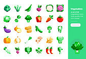 Modern flat design icons set of Vegetables . 48x48 Pixel Perfect icon. High-quality Flat icon design.
