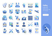 Modern flat design icons set of Police Element. 48x48 Pixel Perfect icon. High-quality Flat icon design.
