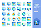 Modern flat design icons set of Designer and Graphic Design. 48x48 Pixel Perfect icon. High-quality Flat icon design.