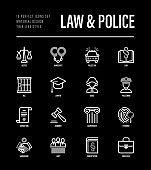 Law and police set. Policeman, judge, prosecutor, lawyer, court, prison, fingerprint, conviction, evidence flat line icons. Vector illustration.