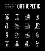 Orthopedic thin line icons set. Flat foot, scoliosis, compression stockings, mattress, pillow, electric wheelchair, walking stick, bone fracture. Vector illustration for black theme.