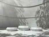 White pedestal for display,Platform for design,Blank product,Empty room with tree shadow on the wall .3D rendering.