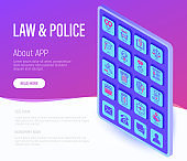 Law and police web page template. Policeman, judge, prosecutor, lawyer, court, prison, fingerprint, conviction, evidence flat line isometric icons. Vector illustration.