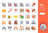 Modern flat design icons set of BBQ Party. 48x48 Pixel Perfect icon. High-quality Flat icon design.