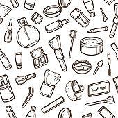 Cosmetics seamless pattern. Vector illustration.