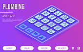 Plumbing web page template. Buttons on tablet with thin line isometric icons. Water meter, bathtub, sink, water filter, faucet, washing machine, dishwasher, siphon. Vector illustration.