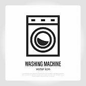 Washing machine thin line icon. Household equipment. Vector illustration.