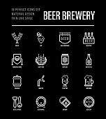 Beer brewery thin line icons set: manufacturing, craft, tap, mug, tulip pint, wheat, hop, bottle opener, barrel. Vector illustration for bar or restaurant. Black theme.