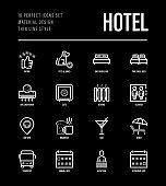 Hotel thin line icons set: rating, pet allowed, single bed, double bed, elevator, arrival date, departure date, heating, air conditioner, reception, wi-fi, breakfast, bar. Vector illustration.