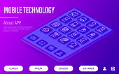 Modern mobile technology web page template. Buttons on tablet with thin line isometric icons. Foldable smartphone, face recognition, curved edges, gesture sensor, sliding front camera, vr, deep photo analysis. Vector illustration.