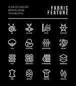 Fabric feature thin line icons set. Symbols of wool, synthetic, silk, antistatic, waterproof, leather, feather filler, eco-friendly, breathable material. Vector illustration.