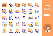 Modern flat design icons set of Delivery and Logistics. 48x48 Pixel Perfect icon. High-quality Flat icon design.