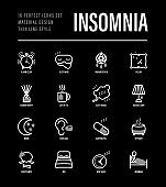 Insomnia thin line icons set. Alarm clock, sleeping mask, comfortable pillow, dreamcatcher, earplug, aroma diffuser, pills, aromatherapy, sheep jumping, tired man in bed. Vector illustration for black theme.
