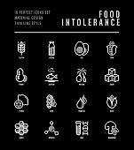 Food intolerance thin line icons set. Symbols of lactose, egg, gluten, corn, seafood, palm oil, peanut, trans fat, citrus, GMO, honey, mushroom. Vector illustration for black theme.