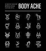 Body ache thin line icons set. Toothache, heart attack, headache, joint pain, arthritis, osteoporosis, stomachache, menstrual pain. Vector illustration for black theme.