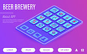 Beer brewery web page template. Buttons on tablet with thin line isometric icons. Manufacturing, craft, tap, mug, tulip pint, wheat, hop, bottle opener. Vector illustration for bar or restaurant.