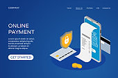 Online payment landing page web site design template. Isometric smartphone, bank card, check, shield and coins. Internet payments, protection money transfer concept. Vector illustration