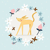 Cute vector illustration with a Dog and Floral Wreath.