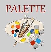 palette and paints, palette, oil paint, brush, brushes, art, painting art, illustration, print, canvas, painter supplies, colors