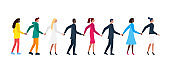 Queue of different men and women holding hands. Flat white and color male and female friendship cartoon characters standing in row together. Vector illustration