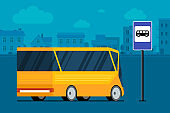 Yellow modern city bus on cityscape road near bus stop station sign. Public transport concept. Vector illustration for passenger transportation traffic service