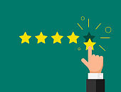 Online feedback reputation quality customer review concept flat style. Businessman hand finger pointing five gold star rating on green background. Vector illustration
