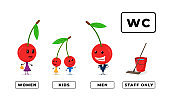 Happy family cartoon cherry character for toilet door sign set. WC men and women icon. Water closet symbol kids and staff only bucket and mop. Vector restroom plate illustration