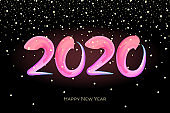 Happy New Year 2020 colorful hand drawn brushstroke oil acrylic paint lettering calligraphy celebration design template with snow. Vector poster illustration on black background