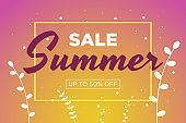 Summer sale promotion banner with beautiful flowers and grass. Special discounts mockup. Poster for promotions, magazines, advertising, web sites. Vector greeting illustration template