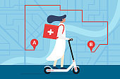 Medicine deliver pharmacy. Female doctor riding electric scooter with medical surgical sanitary box first aid on city street map plan with GPS pins and navigation route. Vector illustration