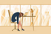 Professional burnout syndrome. Exhausted tired female manager in office sad boring sitting head down on laptop. Frustrated worker mental health problems. Vector long work day illustration