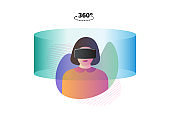 Female wearing virtual reality headset glasses. Vr interface world design template. Future innovation technology vector illustration