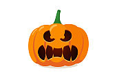 Funny scary spooky smile pumpkin jack o lantern with creepy tooths. Traditional decoration symbol of autumn halloween holiday celebration. Vector illustration isolated on white background