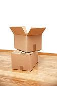 Open cardboard box, ready for transport