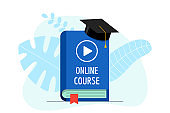 Online course with play video sign on blue cover book and graduation cap. Academy hat on e-learning education studying and internet teaching webinar concept. Vector flat illustration