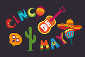 Cinco de Mayo in Mexico. May 5, Latin America holiday. Colorful, detailed, lots of objects background. Vector template with traditional Mexican symbols skull, guitar, flowers, red pepper