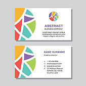 Business visit card template - concept design. Abstract shapes in circle branding. Vector illustration.