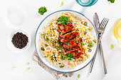 roasted bbq chicken with quinoa sweetcorn onion, healthy lunch
